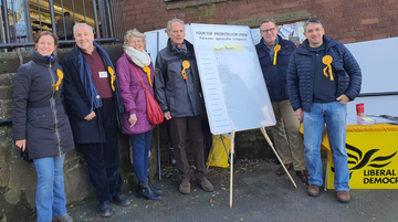 Local Liberal Democrats taking soundings in Lymm village centre